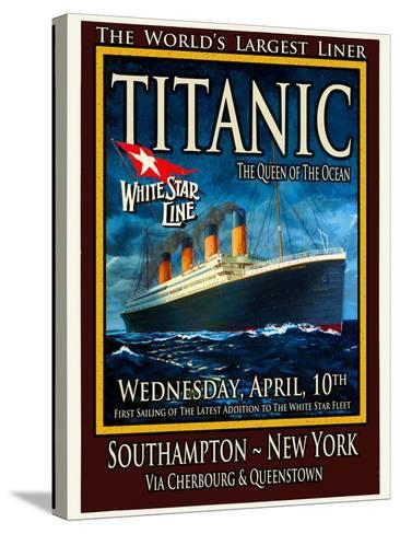 Titanic White Star Line Travel Poster 2-Jack Dow-Stretched Canvas Print