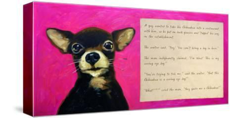 Chihuahua with a Blind Man in a Restaurant-Cathy Cute-Stretched Canvas Print