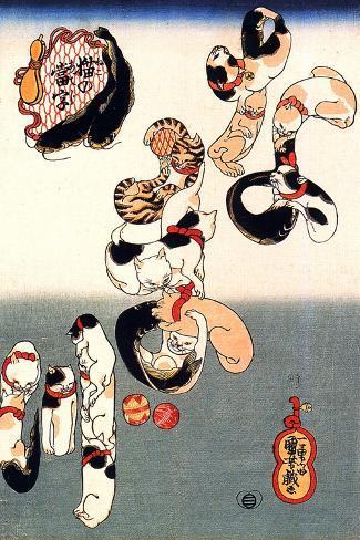 Cats Forming the Characters for Catfish-Kuniyoshi Utagawa-Stretched Canvas Print