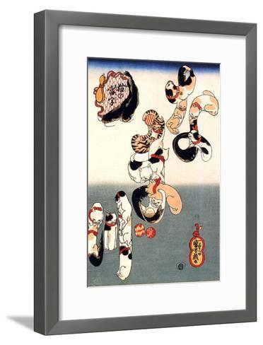 Cats Forming the Characters for Catfish-Kuniyoshi Utagawa-Framed Art Print