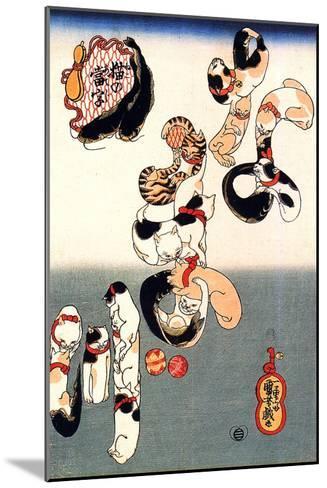 Cats Forming the Characters for Catfish-Kuniyoshi Utagawa-Mounted Giclee Print