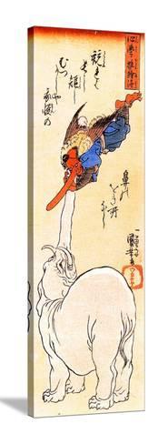 Elephant Catching a Flying Tengu-Kuniyoshi Utagawa-Stretched Canvas Print