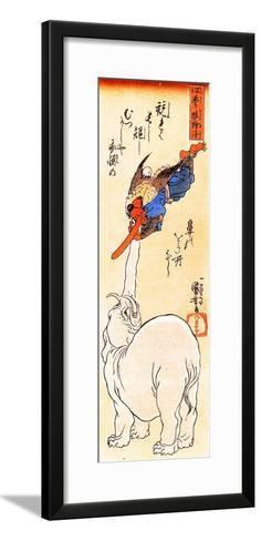 Elephant Catching a Flying Tengu-Kuniyoshi Utagawa-Framed Art Print