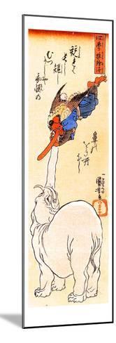 Elephant Catching a Flying Tengu-Kuniyoshi Utagawa-Mounted Giclee Print