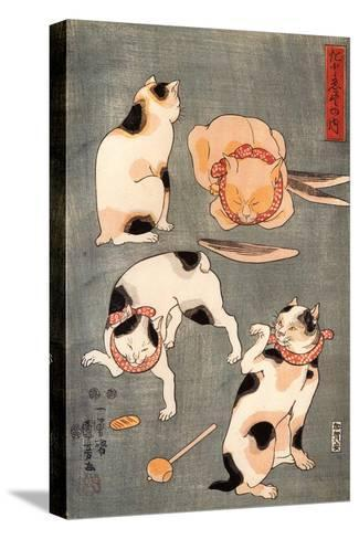 Four Cats in Different Poses-Kuniyoshi Utagawa-Stretched Canvas Print