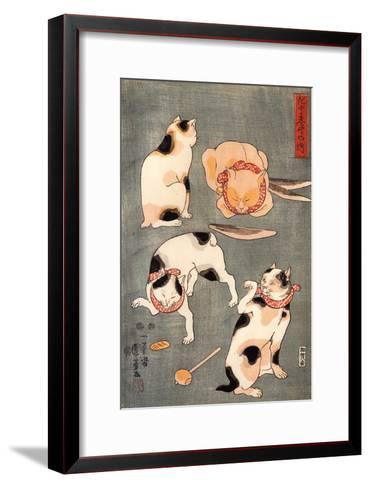 Four Cats in Different Poses-Kuniyoshi Utagawa-Framed Art Print