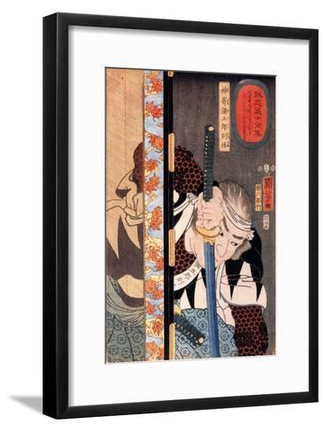 Kansaki Yagoro Noriyasu Seen Behind a Transparent Screen-Kuniyoshi Utagawa-Framed Art Print