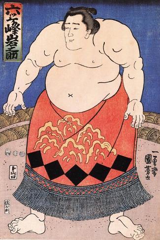 The Sumo Wrestler 2-Kuniyoshi Utagawa-Stretched Canvas Print