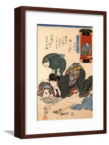Women Reading a News Paper-Kuniyoshi Utagawa-Framed Art Print