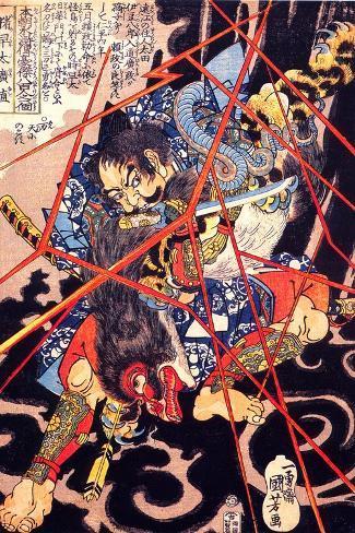 Ino Hayata Hironao Grappling with the Monster-Kuniyoshi Utagawa-Stretched Canvas Print