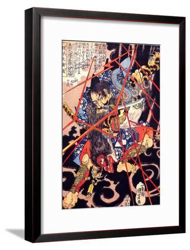 Ino Hayata Hironao Grappling with the Monster-Kuniyoshi Utagawa-Framed Art Print