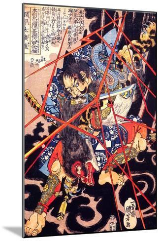 Ino Hayata Hironao Grappling with the Monster-Kuniyoshi Utagawa-Mounted Giclee Print