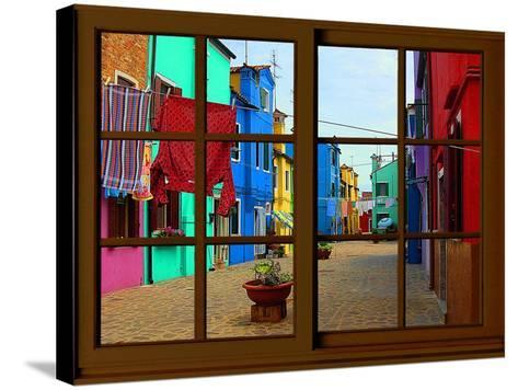 View from the Window at Burano Window,-Anna Siena-Stretched Canvas Print
