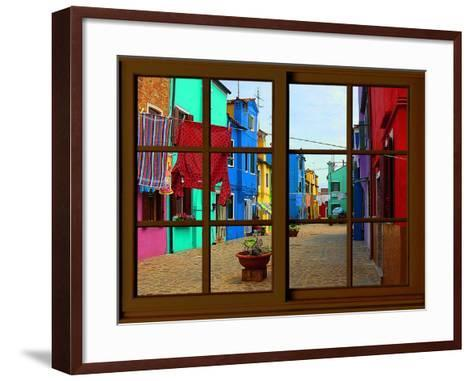 View from the Window at Burano Window,-Anna Siena-Framed Art Print