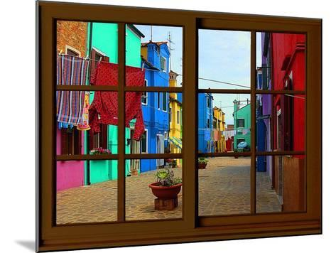 View from the Window at Burano Window,-Anna Siena-Mounted Giclee Print