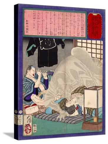 Ukiyo-E Newspaper: Black Monk Monster Kurobozu Attacks a Carpenter's Wife after Midnight-Yoshitoshi Tsukioka-Stretched Canvas Print