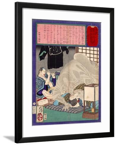 Ukiyo-E Newspaper: Black Monk Monster Kurobozu Attacks a Carpenter's Wife after Midnight-Yoshitoshi Tsukioka-Framed Art Print