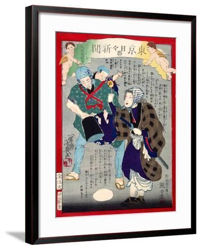 Ukiyo-E Newspaper: a Candy Pedlar Couple Were Detected to Be Moonlight Burglar-Yoshiiku Ochiai-Framed Art Print