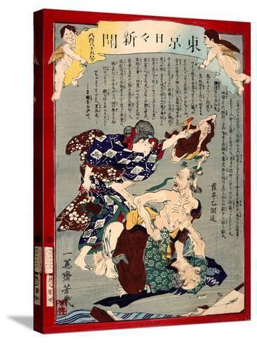 Ukiyo-E Newspaper: Love Triangle Between an Aged Couple and an Old Woman-Yoshiiku Ochiai-Stretched Canvas Print