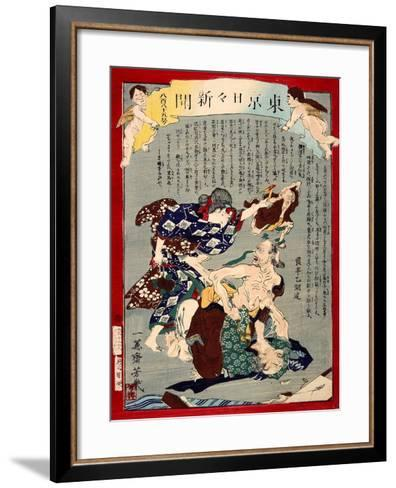 Ukiyo-E Newspaper: Love Triangle Between an Aged Couple and an Old Woman-Yoshiiku Ochiai-Framed Art Print