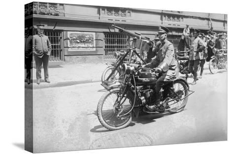 Police Mobile Motorcycle Machine Gun--Stretched Canvas Print