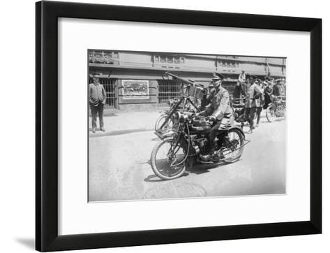 Police Mobile Motorcycle Machine Gun--Framed Art Print