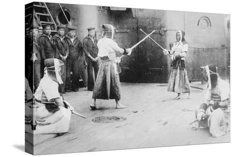 Japanese Sailors Fencing on Board Ship--Stretched Canvas Print