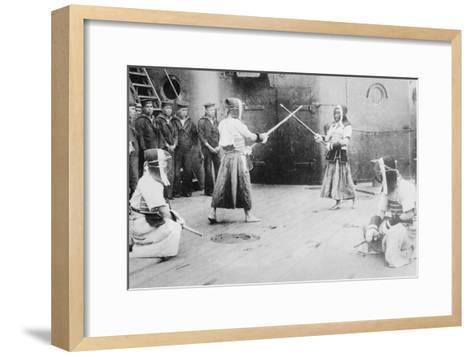 Japanese Sailors Fencing on Board Ship--Framed Art Print