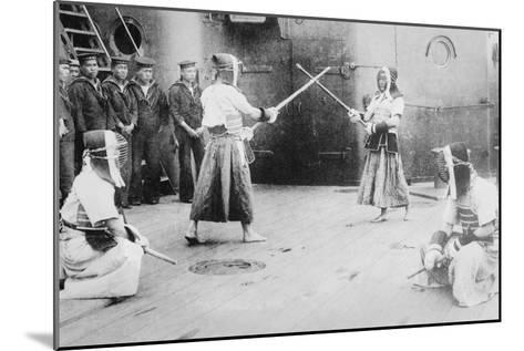 Japanese Sailors Fencing on Board Ship--Mounted Art Print