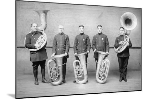 Police Tuba Quartet--Mounted Art Print