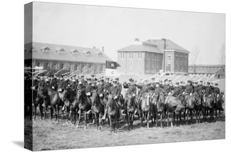 Mounted Cavalry Is Formation Drills at their Base--Stretched Canvas Print