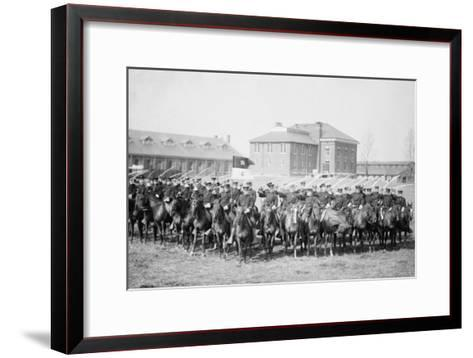 Mounted Cavalry Is Formation Drills at their Base--Framed Art Print