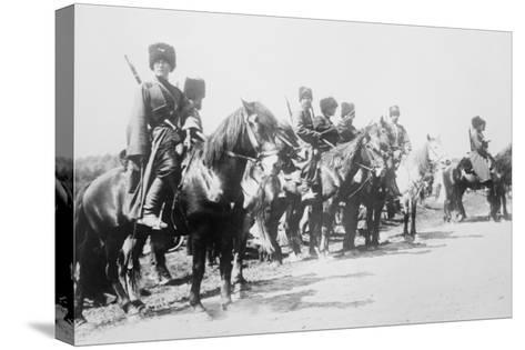 Mounted Russian Cossacks Scan the Battlefield--Stretched Canvas Print