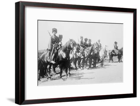 Mounted Russian Cossacks Scan the Battlefield--Framed Art Print