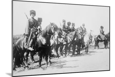 Mounted Russian Cossacks Scan the Battlefield--Mounted Art Print