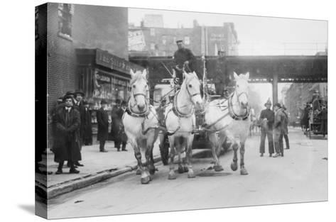 A Troika of White Horses Pulls Hook and Ladder No.7 to the Site of a Fire--Stretched Canvas Print