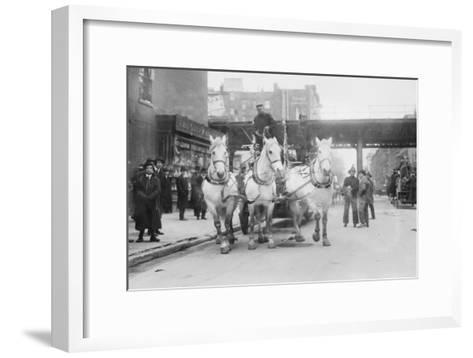 A Troika of White Horses Pulls Hook and Ladder No.7 to the Site of a Fire--Framed Art Print