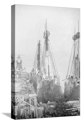 Lightships Docked at Tomkinsville, Staten Island New York--Stretched Canvas Print