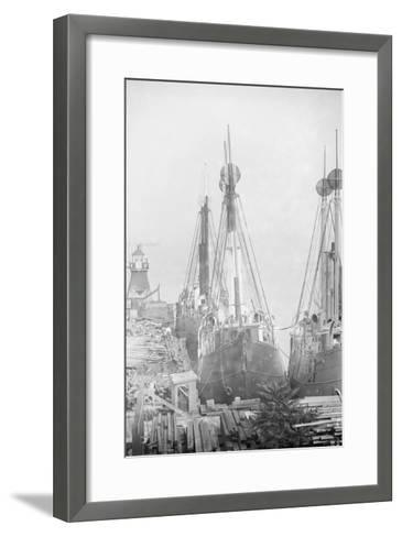 Lightships Docked at Tomkinsville, Staten Island New York--Framed Art Print