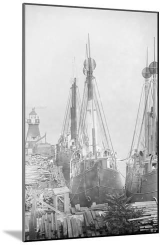 Lightships Docked at Tomkinsville, Staten Island New York--Mounted Art Print