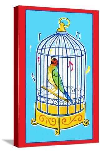Song Bird in Cage--Stretched Canvas Print