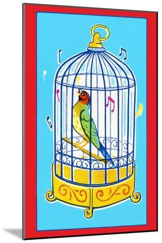 Song Bird in Cage--Mounted Art Print