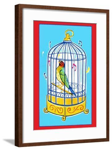 Song Bird in Cage--Framed Art Print