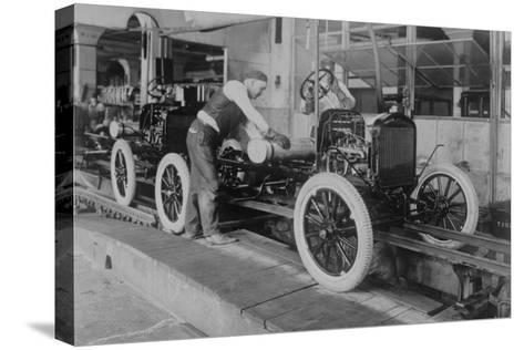 Car Assembly in Detroit Factory--Stretched Canvas Print