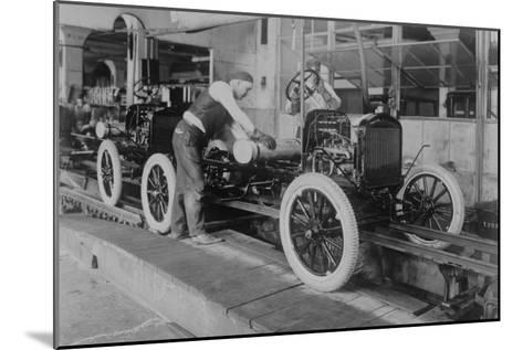 Car Assembly in Detroit Factory--Mounted Art Print