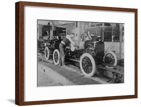 Car Assembly in Detroit Factory--Framed Art Print