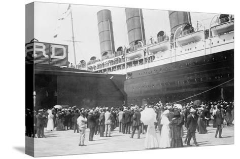 Lusitania at New York Dock--Stretched Canvas Print