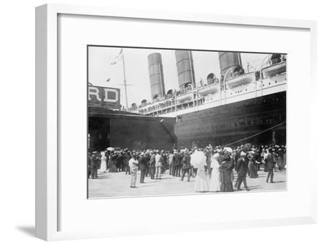 Lusitania at New York Dock--Framed Art Print