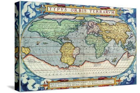 Typus Orbis Terrarum from the Theatre of the World in Apian Projection-Abraham Ortelius-Stretched Canvas Print