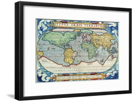 Typus Orbis Terrarum from the Theatre of the World in Apian Projection-Abraham Ortelius-Framed Art Print